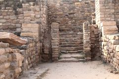 East entrance to citadel at Harappan site. Citadel mud stone wall of ancient Harappa city at Dholavira Stock Images
