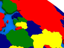 East Europe on colorful 3D globe Stock Images