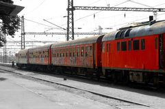 East europe train. Red east europe train Stock Photography