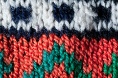 East European knitted pattern. Close up details of East European knitting pattern Stock Photography