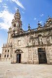 East facade of Santiago de Compostela cathedral stock photo