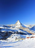 The East Face of the Matterhorn. The Alps, Switzerland. The Matterhorn (German) or Monte Cervino (Italian), also known in French as Mont Cervin is a mountain of royalty free stock photos