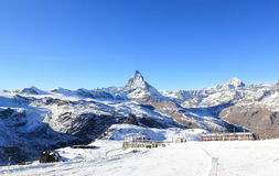 The East Face of the Matterhorn. The Alps, Switzerland. The Matterhorn (German) or Monte Cervino (Italian), also known in French as Mont Cervin is a mountain of stock photos