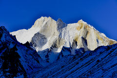 East face of mount Meru (6660 meters), Gharwal. East face of mount Meru (6660 meters) at sunrise, Gharwal Himalaya mountains, Uttarakhand (Uttaranchal), India Royalty Free Stock Photos