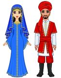East fairy tale. Animation portrait of the Arab family in ancient clothes. Full growth. Vector illustration isolated on a white background stock illustration