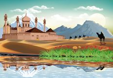 East fortress in the sand dunes. The high mountains on the coast. Camel caravan in the desert. Realistic vector illustration Stock Photos