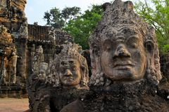 East gate of Angkor Thom Ancient city, Cambodia Royalty Free Stock Image