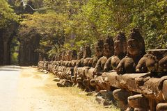 East gate of Angkor Thom Ancient city, Cambodia Royalty Free Stock Images