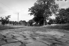 East German cobblestone road Stock Photo