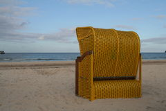 East German strandkorb. A view of the back of a Strandkorb or beach chair, popular with beach-goers and tourists along North Sea and Baltic Sea beaches. Usually Royalty Free Stock Image