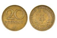East German twenty pfennig coin. Royalty Free Stock Photo