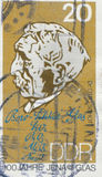 EAST GERMANY - CIRCA 1984: a stamp printed in GDR showing a portrait of Otto Schott, Chemist and Inventor of Stock Image