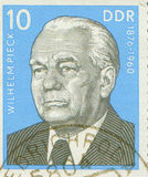 EAST GERMANY - CIRCA 1960: stamp showing a portrait of first German Democratic Republic president Wilhelm Pieck , circa Royalty Free Stock Image