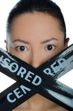 East girl with a black ribbon and inscription. Prohibiting Stock Photography