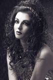 East girl. Young woman with long dark hair and in east costume Royalty Free Stock Photos