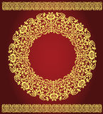 East gold ornament on a claret background Stock Photos