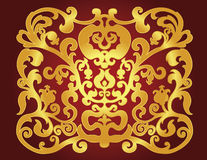 East gold ornament on a claret background Royalty Free Stock Photo