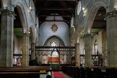 EAST GRINSTEAD,  WEST SUSSEX/UK - AUGUST 18 :  Main altar in St. Swithun`s Church East Grinstead West Sussex on August 18, 2018 Royalty Free Stock Images