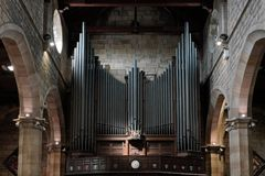 EAST GRINSTEAD,  WEST SUSSEX/UK - AUGUST 18 :  View of the organ. In St Swithun`s Church East Grinstead West Sussex on August 18, 2018 Royalty Free Stock Images