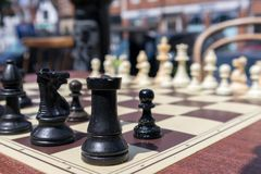 Free EAST GRINSTEAD, WEST SUSSEX/UK - JULY 3 : Chess Board In The Street Ready For A Game In East Grinstead On July 03, 2018 Royalty Free Stock Image - 120555496