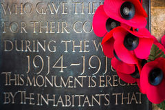 EAST GRINSTEAD WEST SUSSEX/UK - NOVEMBER 13 : Poppies on the War. Memorial on Remembrance Sunday in East Grinstead West Sussex on November 13, 2016 Stock Image