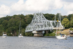 East Haddam Bridge 11. Boats passing East Haddam Bridge at Connecticut river, Connecticut, USA Stock Image