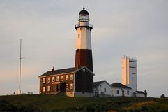 View on Montauk Lighthouse on Long Island at sunset stock images