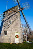East Hampton town Windmill at Christmas time. A Christmas tree and wreath on the East Hampton, New York, town windmill Royalty Free Stock Photo
