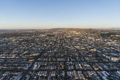 East Hollywood Morning Aerial Los Angeles. Morning aerial view above Santa Monica Blvd and East Hollywood in Los Angeles California Royalty Free Stock Images