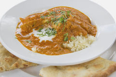 East Indian Butter Chicken Curry with Naan Stock Image