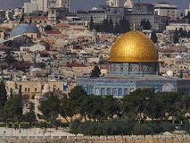 East Jerusalem, the Muslim sanctuary of the Mosque Dome of the Rock, the golden dome rises in middle of the old city, Israel. East Jerusalem, the Muslim Stock Photo