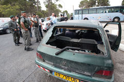 East Jerusalem Riots. EAST JERUSALEM - SEPTEMBER 22: Israeli police and guard the scene after orthodox Jews were injured when their cars were attacked by Stock Image