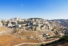 East Jerusalem under the Crescent Moon Royalty Free Stock Images