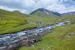 East Karakol river in Tien Shan mountains Stock Image