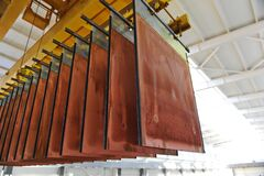 Free East Kazakhstan Region, Kazakhstan - 12.02.2015 : Layers Of Cathode Copper On A Special Lift For Processing Royalty Free Stock Image - 219761836