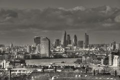 East London City. East london skyline from greenwich park Royalty Free Stock Photo