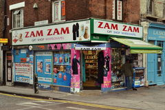 East London corner shop. In Whitechapel stock images