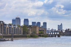 East London Docklands skyscrapers and wharf houses Stock Image