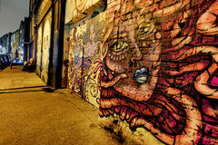East London Graffiti. Artistic Graffiti in the East End of London stock image