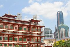 East Meets West Buildings Together. Interesting combination of eastern and western buildings close to each other royalty free stock images