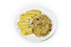 East meets West Chicken Curry and Chips Royalty Free Stock Photo