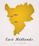 East midlands Inglaterra Art Map ilustración del vector