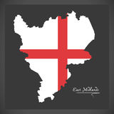 East Midlands map with flag of England illustration Royalty Free Stock Photo