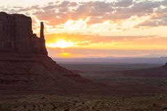 East Mitten Butte at sunrise. East Mitten Butte in Monument Valley at sunrise Stock Photo