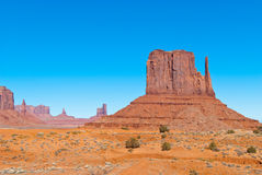 East Mitten in Monument Valley. East Mitten, one of the most spectacular and well known rock formations in the world. East Mitten is located in Monument Valley royalty free stock photos