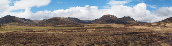East mountain range seen from Glen Banchor, Scotland highlands i. Left to right, Sron Beag na Uamhaid, Sron na Creige, Carn  Macoul Royalty Free Stock Images