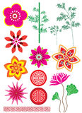 East nature element. Variety flower, nature and pattern set Royalty Free Stock Image
