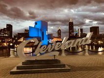 A New Cleveland Script Sign - E.9th Street Pier - CLEVELAND - OHIO. East Ninth Street Pier and Rock n` Roll Hall of Fame E 9th St at Cleveland`s North Coast royalty free stock images