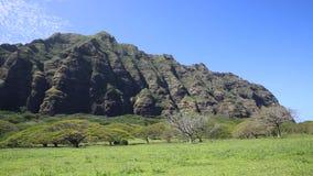 East-north cliffs of Kualoa Ranch. Film location Jurassic Park - Oahu, Hawaii stock video