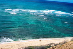 East Oahu Surf. The turquoise ocean of east Oahu seen from the cliffs Royalty Free Stock Photography